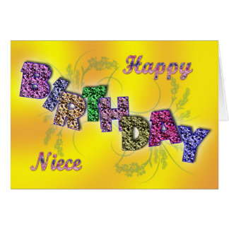 Birthday card niece with floral text
