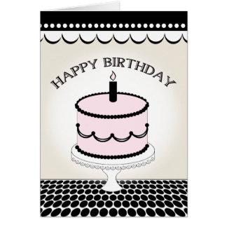 Birthday Card - Pink and Black Birthday Cake
