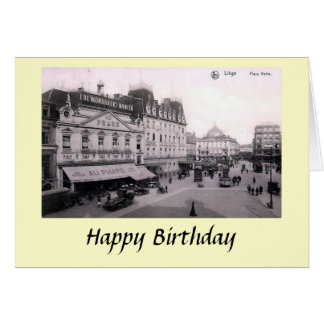 Birthday Card - Place Verte, Liege, Belgium