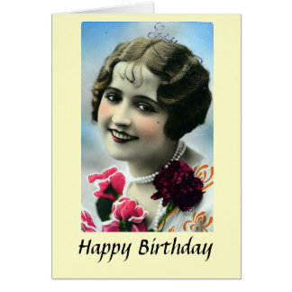 Birthday Card - Pretty Girl - 1920s