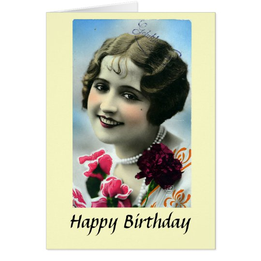 Birthday Card - Pretty Girl - 1920s