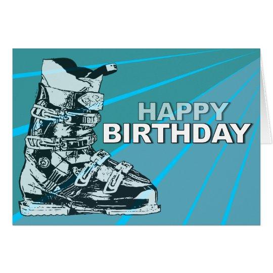 Birthday Card Ski Boot Blue
