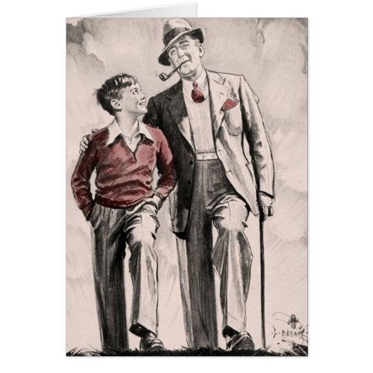 Birthday Card Son Father Retro Vintage 1930's Boy