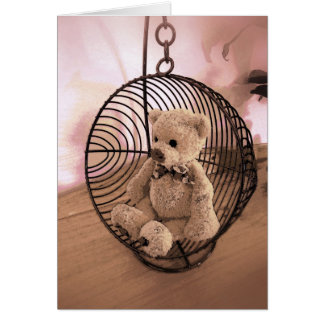 Birthday Card - Teddy Bear in a swing