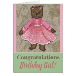 Birthday Card with a cute Bear Girl