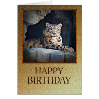 Birthday Card with a snow leopard