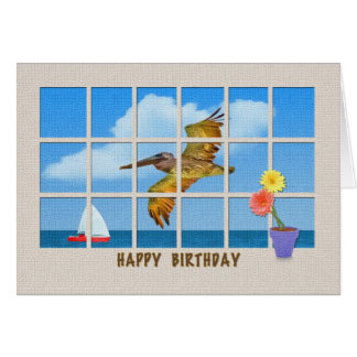 Birthday Card with Brown Pelican and Flowers