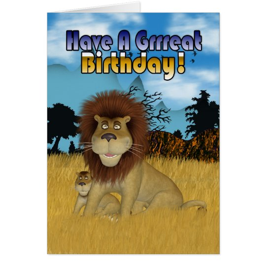 Birthday Card With Cartoon Lion And Cub