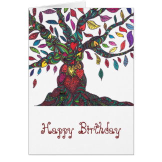 Birthday card with colourful tree and hearts