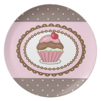 Birthday card with cupcake dinner plate