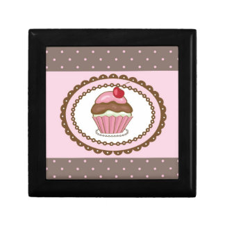 Birthday card with cupcake small square gift box