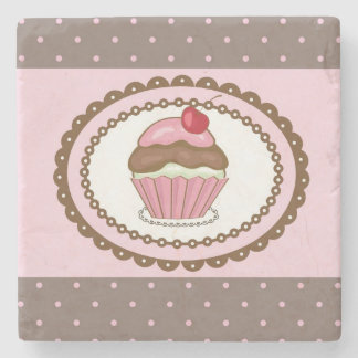 Birthday card with cupcake stone beverage coaster