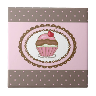 Birthday card with cupcake tile