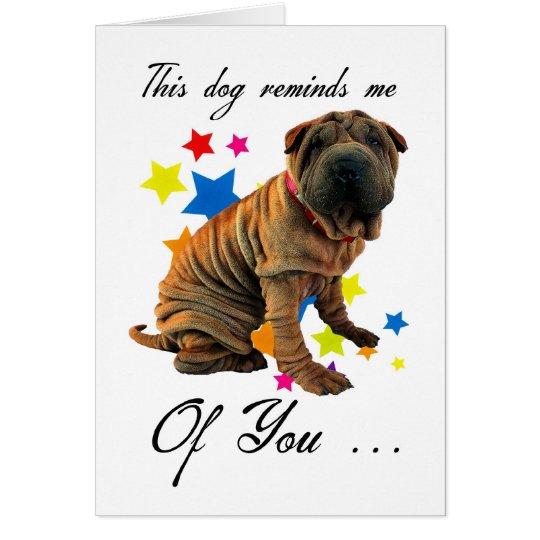 birthday card with cute shar pei - humourous