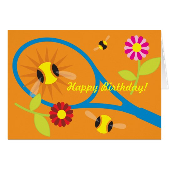 Birthday card with cute tennis design