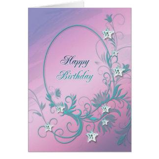 Birthday card with diamond stars