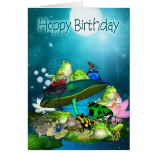 Birthday Card With Fantasy Frogs - Hoppy Birthday