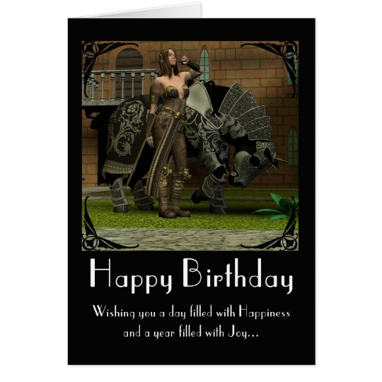 Birthday Card with horse and warrior mediaeval