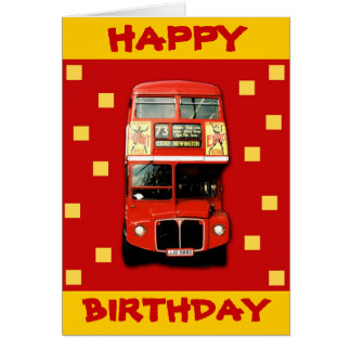 Birthday Card with London Bus
