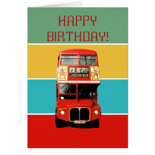 Birthday Card with London Bus – London Birthday Cards