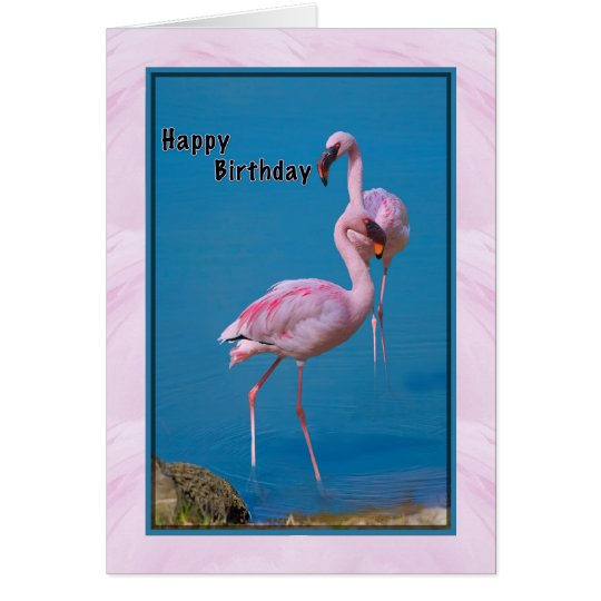 Birthday Card with Pink Flamingo
