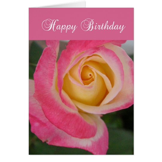 Birthday Card with Pink Rose, Religious, Christian
