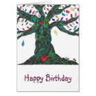 Birthday card with tree