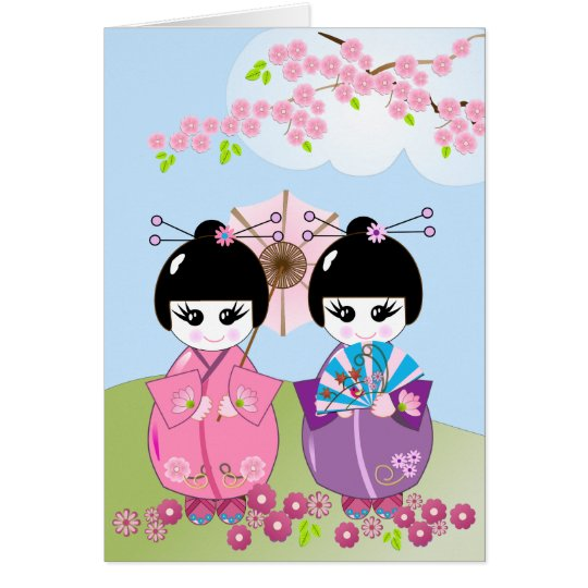 Birthday card wth Japanese dolls & Cherry blossoms