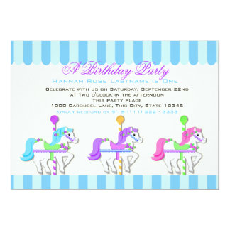 Birthday Carousel Ponies 13 Cm X 18 Cm Invitation Card