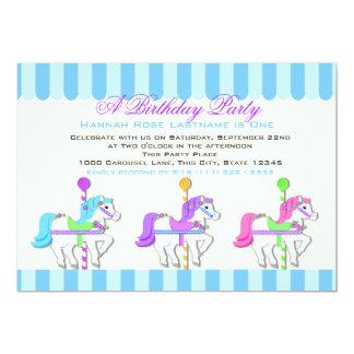 Birthday Carousel Ponies 13 Cm X 18 Cm Invitation Card