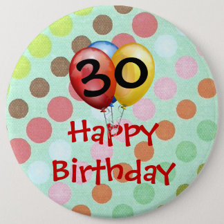 "Birthday Celebration ""30"" Button Template"