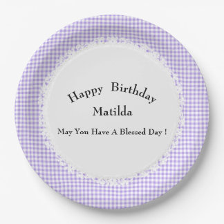 Birthday-Celebration(s)Template-Gingham-Multi-Use 9 Inch Paper Plate