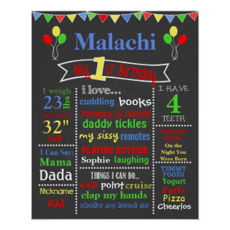 Birthday Chalkboard - Balloons Poster