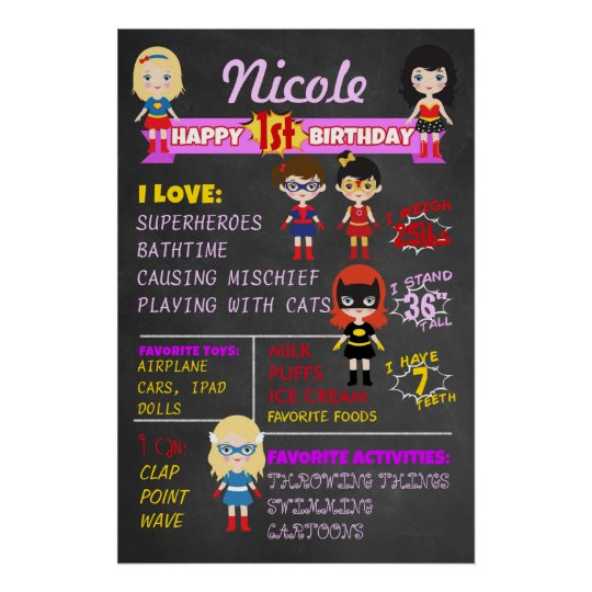 Birthday Chalkboard Girls Superheroes Party Poster