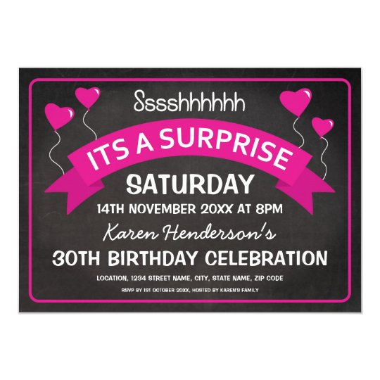 Birthday Chalkboard Surprise Pink Balloons Card