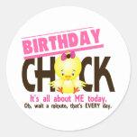 Birthday Chick 3 Round Stickers