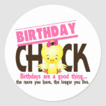 Birthday Chick 4 Round Stickers