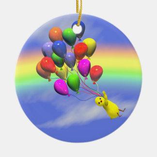 Birthday Chicken Flight Round Ceramic Decoration