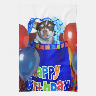 Birthday Chihuahua kitchen towel