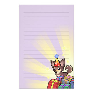 Birthday Chihuahua (long coat) Customised Stationery