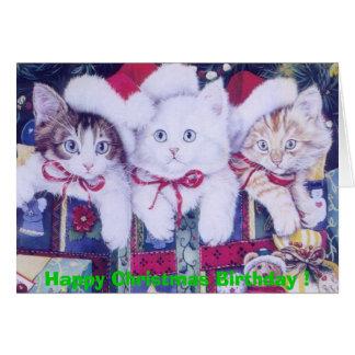 Birthday Christmas Cats Greeting Card