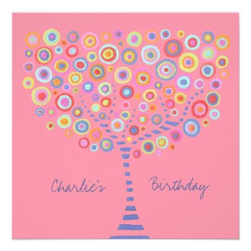 Birthday Circle Tree Retro Personalized Invitation
