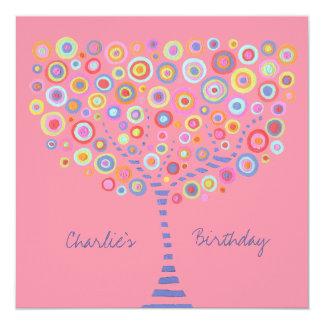 """Birthday Circle Tree Retro Personalized Invitation 5.25"""" Square Invitation Card"""