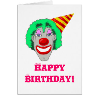 Birthday Clown Face Greeting Cards