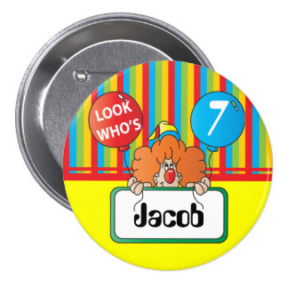 Birthday Clown Personalize Button Buttons