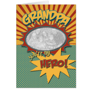Birthday Comic Book Hero Grandpa Greeting Cards