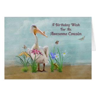 Birthday, Cousin, Pelican, Flowers Card