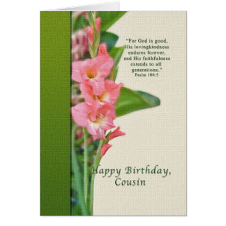 Birthday, Cousin, Pink Gladiolus Card