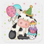 Birthday Cow Sticker