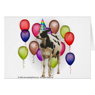 Birthday Cow Theme Party Card